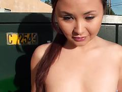 Blow job behind the wall outdoors
