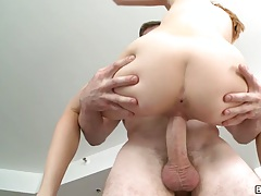 In the air fuck with Ava Hardy held up by a big dick