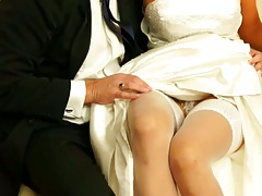 Bride likes to get her pussy touched up her dress