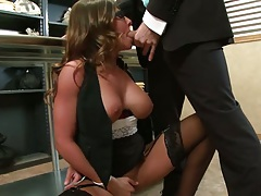 Blowjob with big tits milf in the office and a titty fuck from Madison Ivy