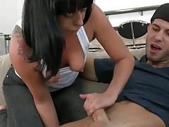 Latina handjob and cowgirl fuck with deep throat