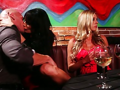 Alektra Blue at the bar in group going to bedroom