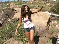 Ruby Reyes has fun outdoors in fully clothed fun