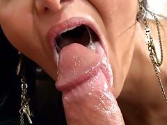 Ava adams plays with cum as she sucks dick