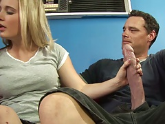 Huge cock blonde handjob with Lynn Pleasant and pussy licked upskirt