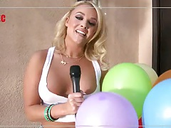 Blonde Alexis Monroe having a party getting tits in oil