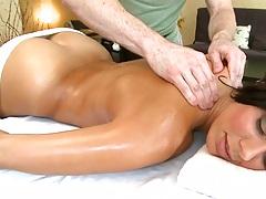 Oil massage with Rachel Starr enjoying a rub down