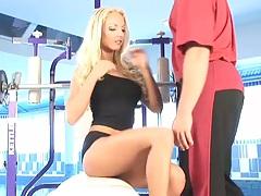 Euro Veronika Symon in the gym blowjob