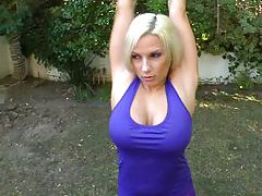 Porn star spa with sexy Lylith Lavey outdoors stretching