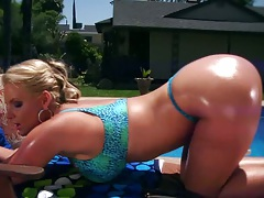 Oil bikini babe Phoenix Marie outdoor doing self ass fingering