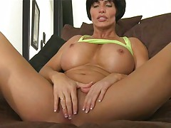 Shay Fox touches her shaved milf pussy