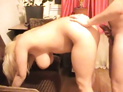 Slut dogged and then moves in to swallow the cum