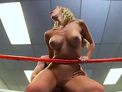 Big tits slut fucked on the boxing match ring