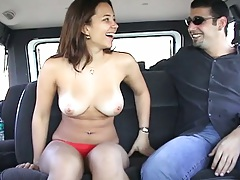 Latina 18 year old amateur Sofia backseat blowjob on bangbus ride