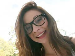 Glasses on a brunette teen Blake Haze showing perky tits