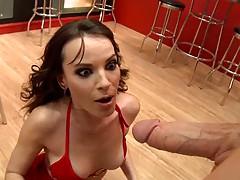 Horny happy waitress Dana deepthroats