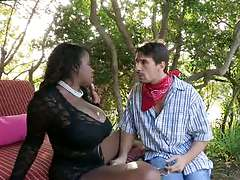 Big natural tits ebony babe Vanessa Blue outdoors