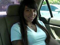 Brunette Lilah in the back seet