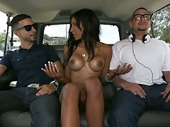 Backseat fun with Sadie Santana going down on dick