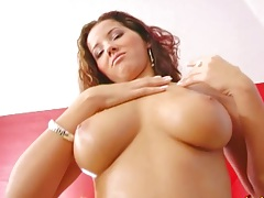 Big tits babe Angel Dark touching own tits and showing pussy