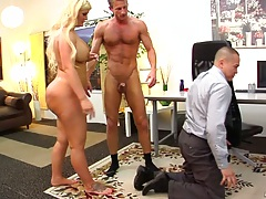 Threesome office fuck with asian guy violated and Julie Cash