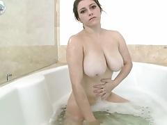 Krista James taking a solo wet shower bath