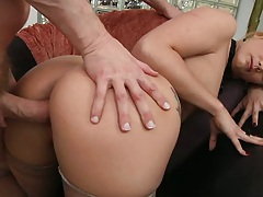 Doggy style big ass fuck for AJ Applegate with rough deep throat head pushing