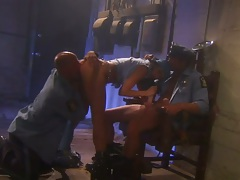 Pussy licking and skinny Alektra Blue fuck threesome cop fuck in the prison