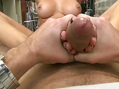 Footjob from brunette gorgeous hottie Rachel Starr and her feet