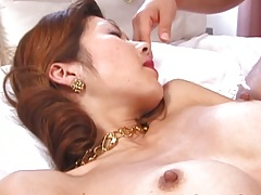 Hairy pussy and natural tits asian getslicked