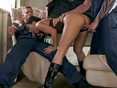 Two dudes fucking asian Asa Akira deep and hard