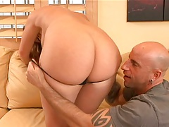 Morgan Reigns gets panties taken off and sideways fuck