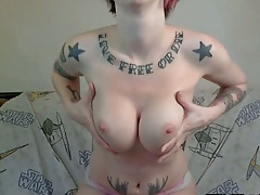 Tight busty alternative chick with tattoos