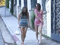 Outdoor lesbians Malena Morgan and Georgia Jones talking a walk in public