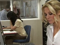 jessica drake in the office doing her chores