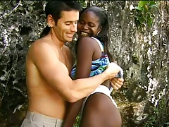 Ebony cutie Monique outdoors sucking cock