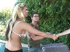 Blonde outdoor Phoenix Marie sucking some cock