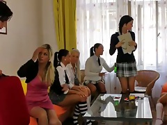Klarisa and Vanessa with Celine Noiret in group school girl teen party