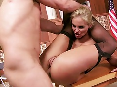 Flexible Phoenix Marie gets deep plowed on table with legs behind her head