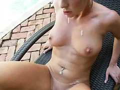 Britney Brooks with a mouthful of semen getting nailed