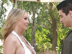 Blonde Julia Ann in bikini making out and sucking dick outdoors