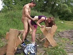 Alexis Crystal standing fuck outdoors and reverse cowgirl teen entry