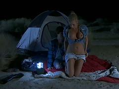 Camping outdoors with blonde naughty girl Samantha Saint