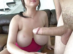 Titty fucking between two huge boobs and suck