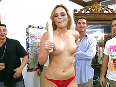 Group of college girls Alexis Texas and Victoria Voss taking off their shirts at party