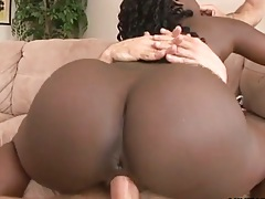 Big black ass Luxury sits on dick in threesome sex