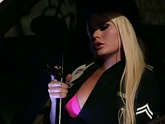 Blonde police officer Alexis Ford in uniform visits party