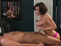 Diamond Foxxx titty fucking cock on the office desk then rides disk