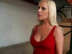 Busty blonde milf in a red top and skirt