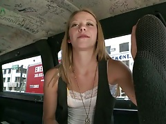 In the backseat of bangbus teen amateur Sydney Cross is a bit shy